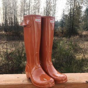 NWOT Hunter Burnt Orange Gloss Tall Rain Boot 7